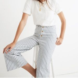 NWOT Madewell Wide Leg Cropped Striped Jeans